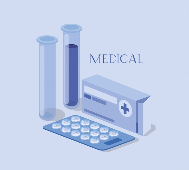 Tubes médicaux teste les médicaments avec une boîte à médicaments Vecteur Premium