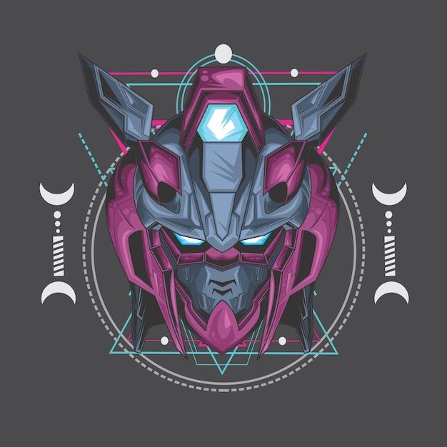 Tueur robot violet Vecteur Premium