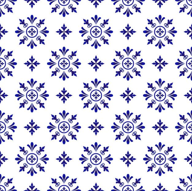 Tuile de fleur abstraite modèle bleu et blanc, fond de porcelaine Vecteur Premium