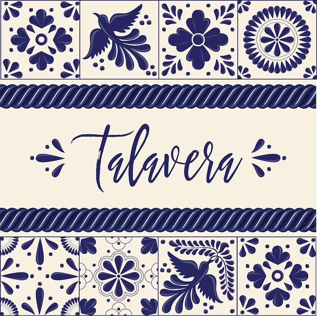 Tuiles Mexicaines Talavera - Composition De L'espace De Copie Vecteur Premium
