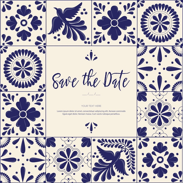 Tuiles Mexicaines Talavera - Save The Date Card Template Vecteur Premium