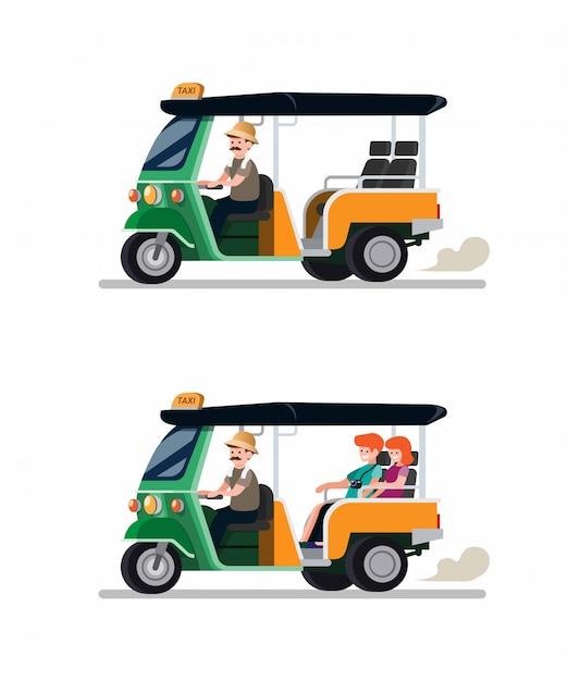 Tuk Tuk Rickshaw Transport Traditionnel De La Thaïlande Avec Chauffeur Et Couple D'icônes De Touristes. Bande Dessinée Illustration Vectorielle Plane Vecteur Premium