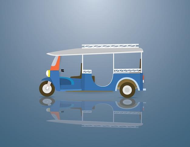 Tuktuk est un véhicule en thaïlande Vecteur Premium
