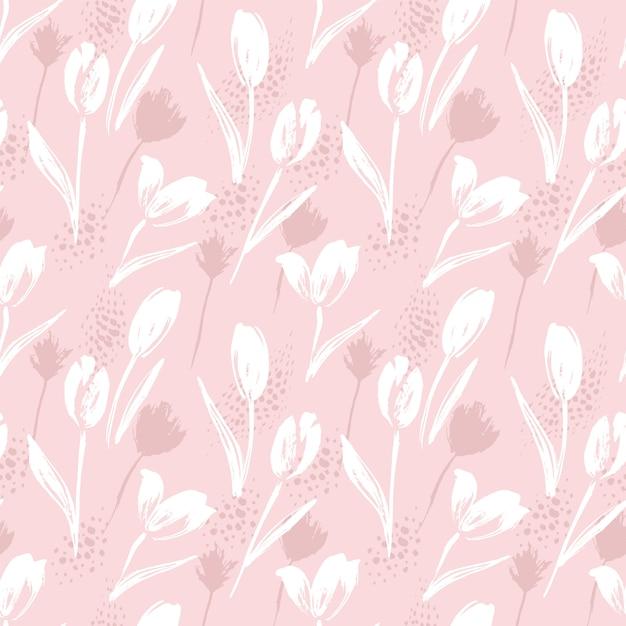 Tulipes De Modèle Sans Couture Floral Abstrait.textures Dessinées à La Main à La Mode. Vecteur Premium