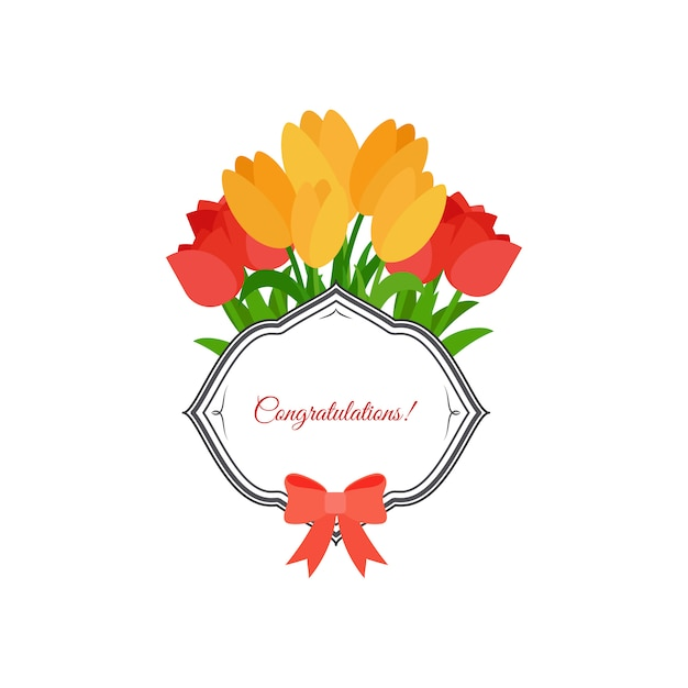 Tulipes roses et jaunes félicitations design Vecteur Premium