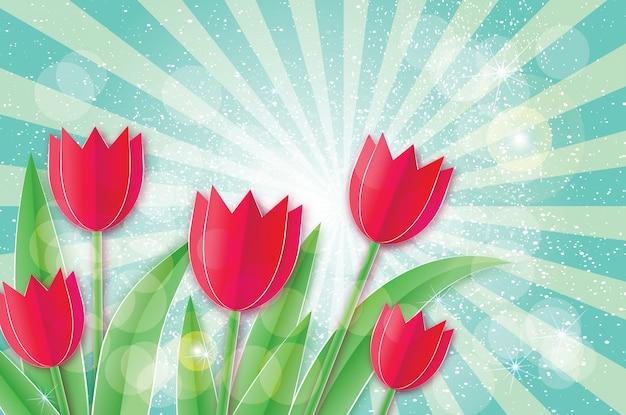 Tulipes Rouges. Fleur Coupée En Papier. Vecteur Premium