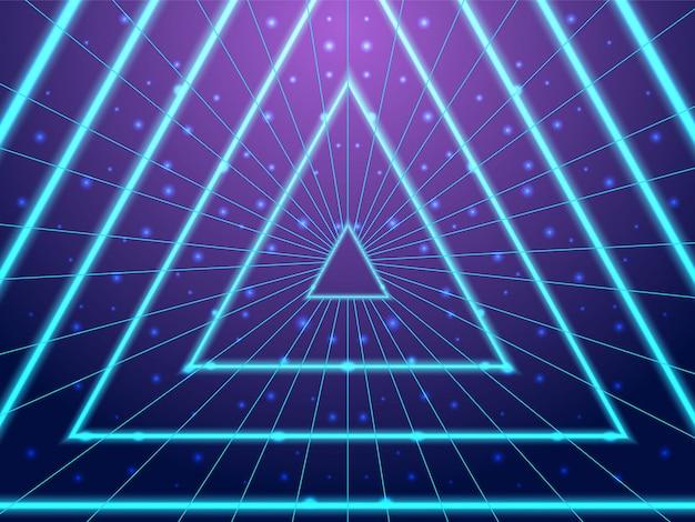 Tunnel néon synthwave de style années 80 Vecteur Premium
