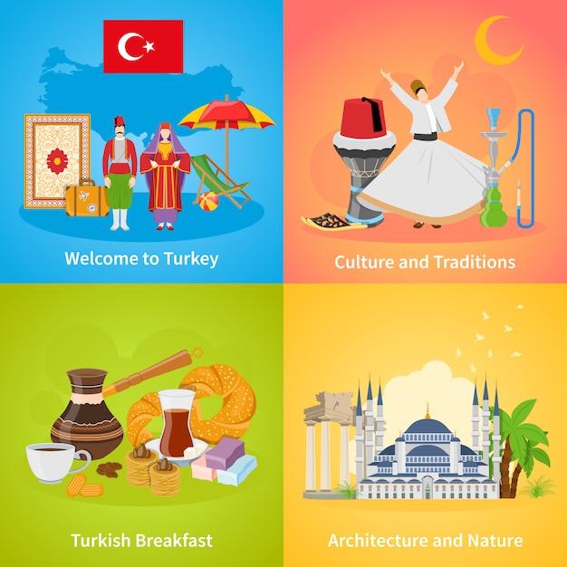 Turquie 2x2 Design Concept Set Vecteur gratuit