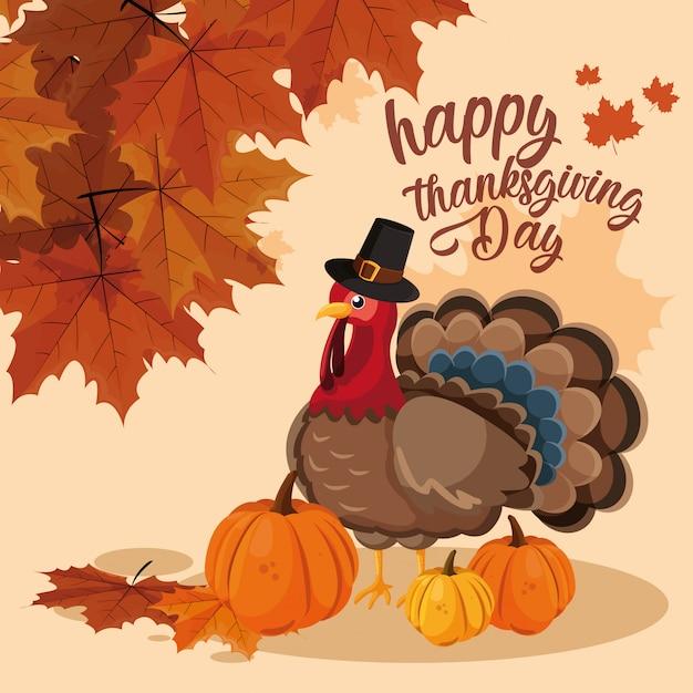 Turquie avec citrouilles et chapeau de pèlerin du jour de thanksgiving Vecteur Premium