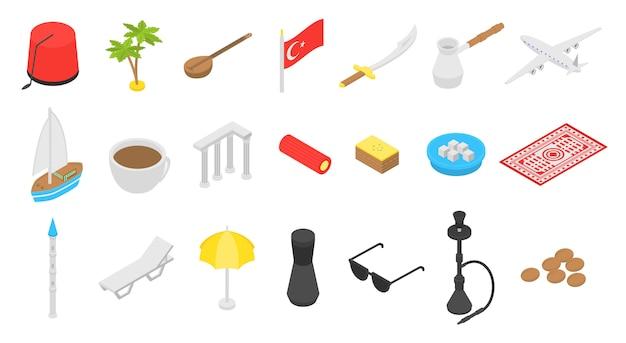 Turquie pays icônes définies Vecteur Premium