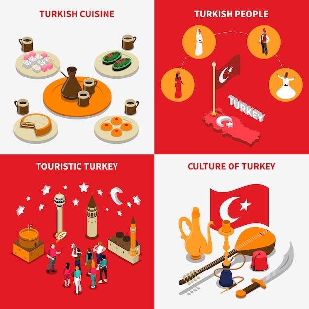 Turquie touristique 4 isometric icons square Vecteur gratuit