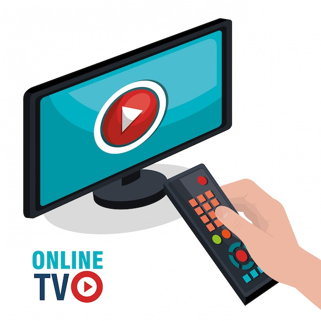 Tv en direct Vecteur Premium