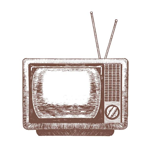 Tv Retro Blank Hand Draw Sketch Télévision Vintage. Vecteur Premium