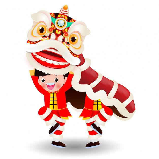 Two little boys interprète une danse du lion, un joyeux nouvel an chinois, des enfants jouent à la danse du lion chinois Vecteur Premium