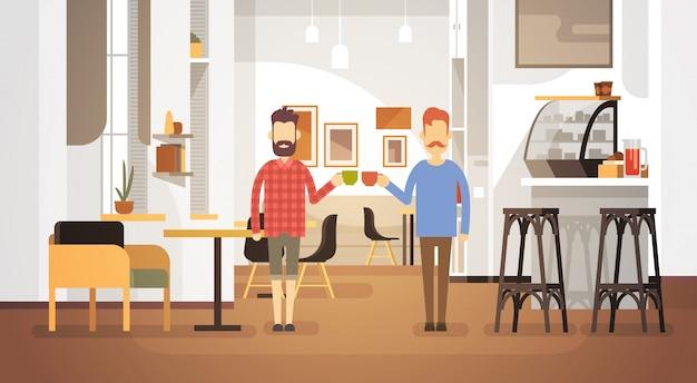 Two man drink coffee café moderne restaurant intérieur Vecteur Premium