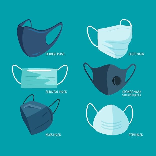 Type De Collection De Masques Faciaux Vecteur Premium