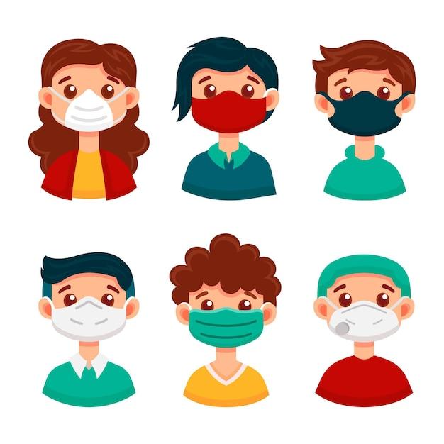 Type De Concept De Masques Faciaux Vecteur gratuit