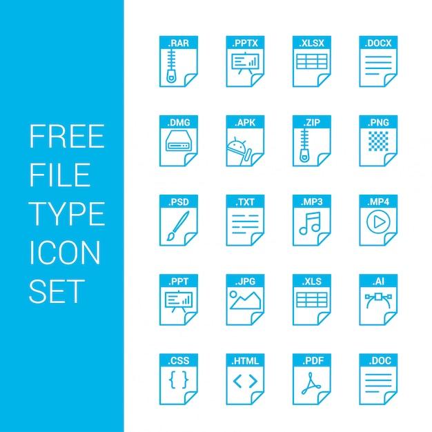 Type de fichier icônes définies vecteur Vecteur gratuit
