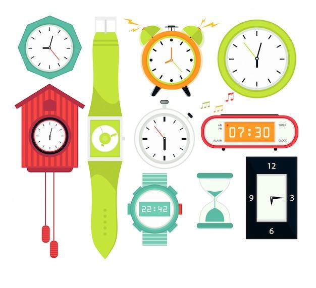 Types d'alarmes horloges numériques Vecteur Premium