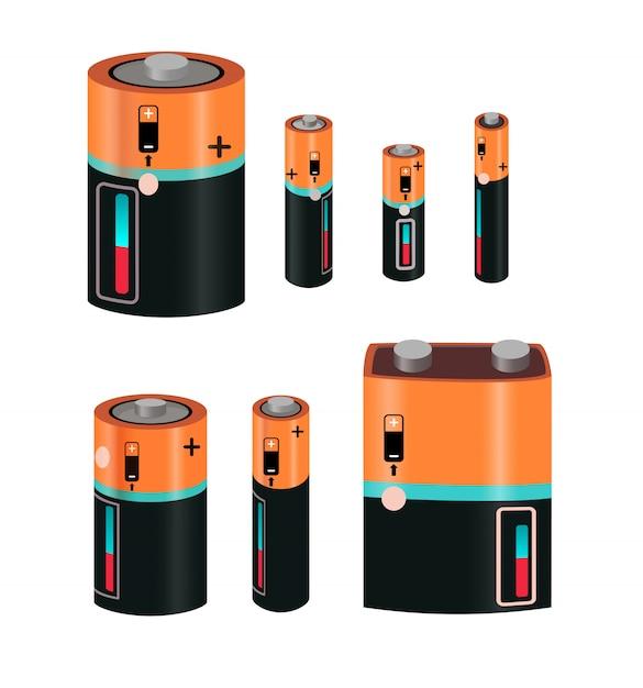 Types de batterie s set Vecteur gratuit