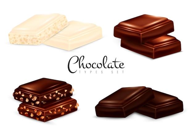 Types de chocolat réalistes Vecteur gratuit