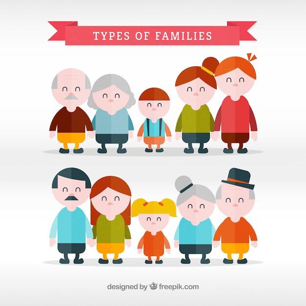 Types de familles forfaitaire prévu Vecteur gratuit