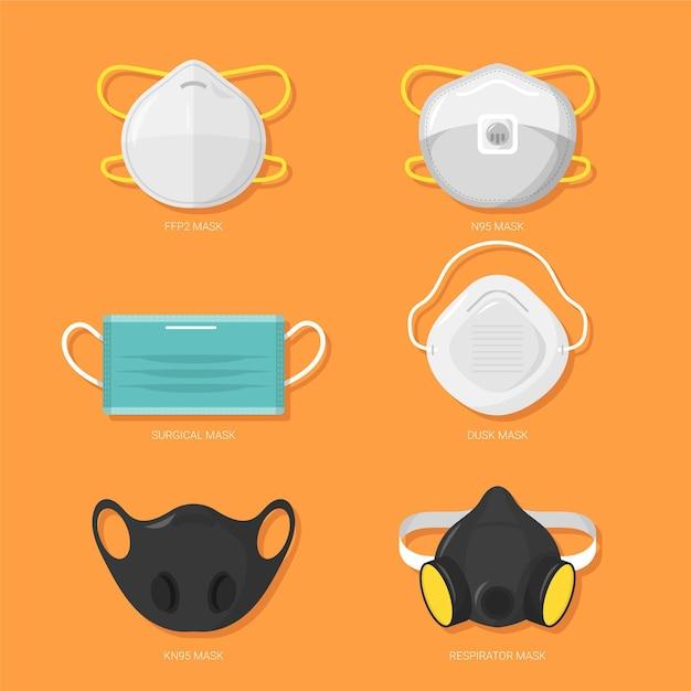 Types De Masques Pour Le Visage Vecteur Premium