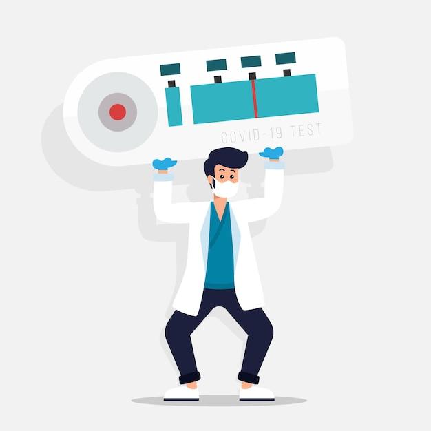 Types De Test Coronavirus Homme Tenant Un Test Vecteur gratuit