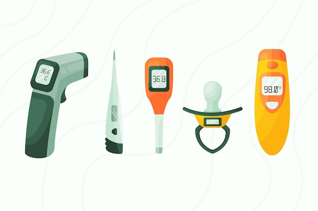 Types De Thermomètres Au Design Plat Vecteur gratuit