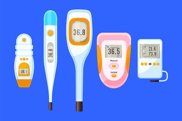 Types De Thermomètres Au Design Plat Vecteur gratuit