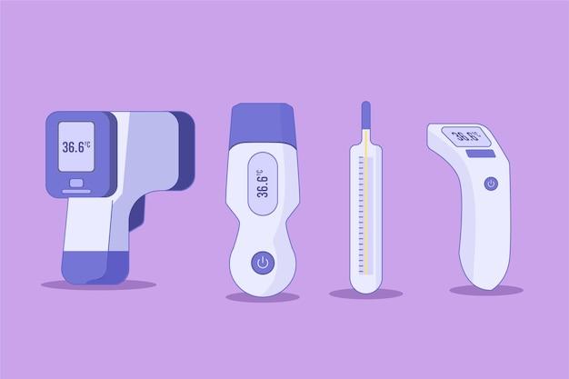 Types De Thermomètres à Conception Plate Vecteur gratuit
