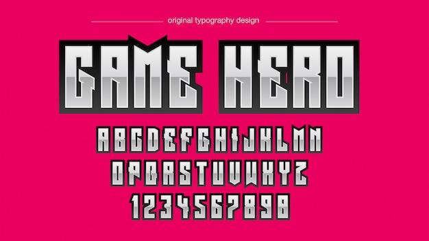Typographie abstraite en acier gras Vecteur Premium