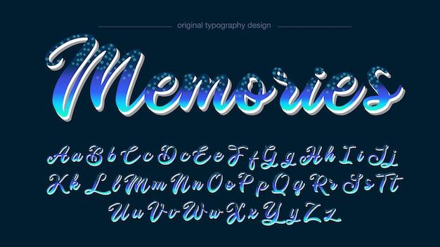 Typographie abstraite manuscrite d'étoiles bleues Vecteur Premium