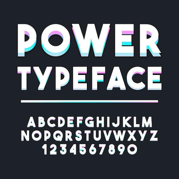 Typographie Alphabet Néon. Police Moderne De Composition Décorative. Ensemble De Conception De Lettres Et De Chiffres. Vecteur Premium