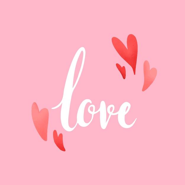 Typographie d'amour ornée de vecteur de coeurs Vecteur gratuit