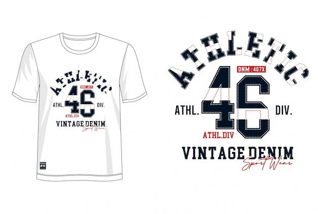 Typographie Athlétique Pour T-shirt Imprimé Vecteur Premium