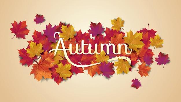 Typographie autumnlayout décorer avec des feuilles Vecteur Premium