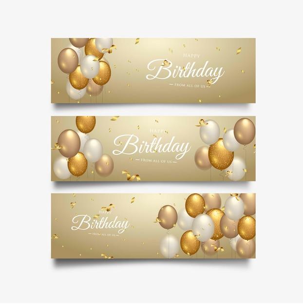 Typographie de célébration joyeux anniversaire pour bannière de voeux Vecteur Premium