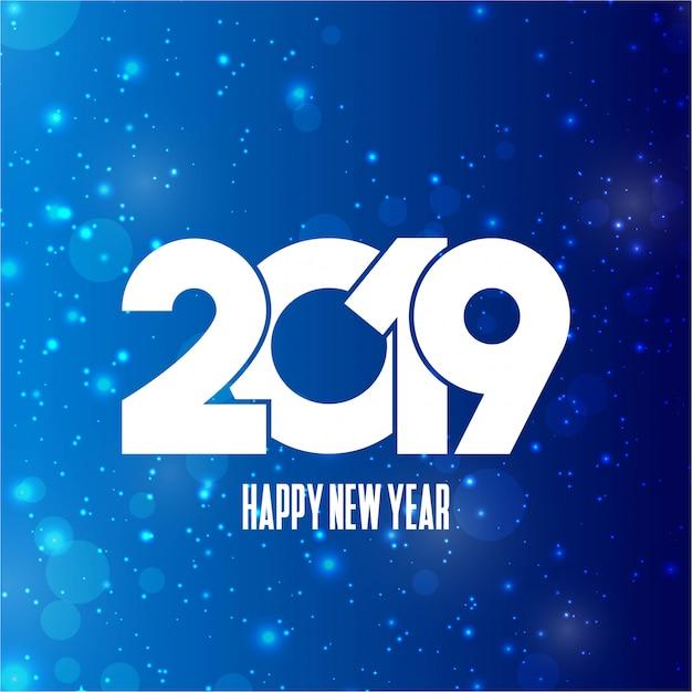 Typographie de bonne année 2019 avec le vecteur de design créatif Vecteur gratuit