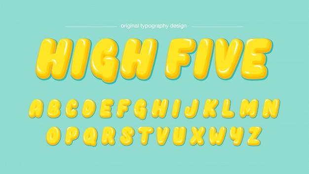 Typographie de dessin animé bulle jaune Vecteur Premium