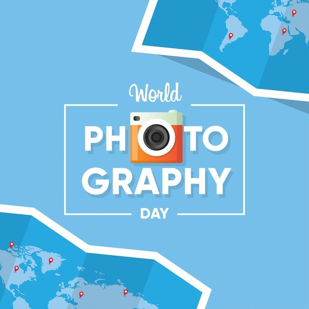 Typographie Du Logo Pour La Bannière De La Journée Mondiale De La Photographie Avec Fond De Carte Du Monde Vecteur Premium