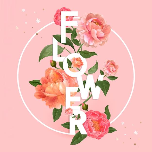 Typographie fleur rose Vecteur gratuit
