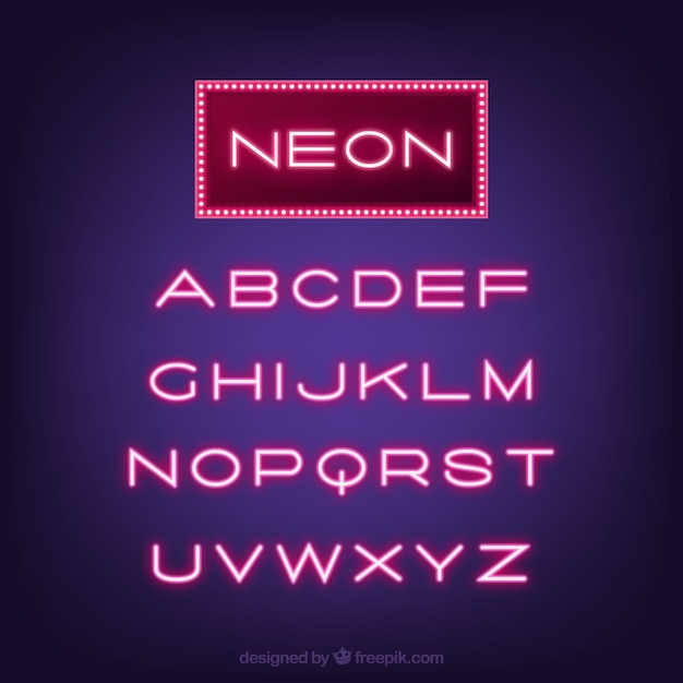 Typographie grand néon Vecteur gratuit