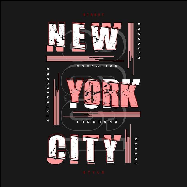 Typographie Graphique Abstraite Rayée De New York City Pour T-shirt Imprimé Vecteur Premium