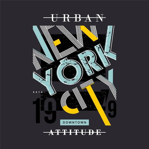 Typographie Graphique De Cadre De Texte D'attitude Urbaine De New York City Pour T-shirt Vecteur Premium