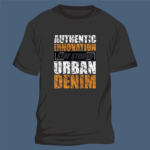 Typographie Graphique De Cadre De Texte De Style Denim Urbain Innovation Authentique Pour T-shirt Vecteur Premium