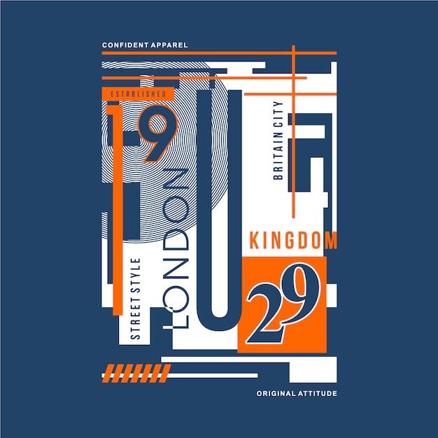 Typographie graphique londonienne pour t-shirt design et autres usages Vecteur Premium