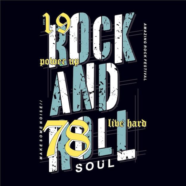 Typographie Graphique Rock And Roll Sur Illustration De Conception De Thème De Musique Pour T-shirt Imprimé Vecteur Premium