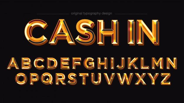 Typographie en gras brillant doré Vecteur Premium