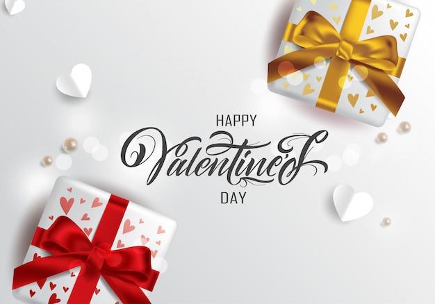 Typographie De Happy Valentines Day, Carte De Voeux Vecteur Premium